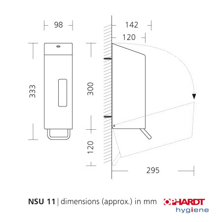Dispenser i rustfri stål - SanTRAL NSU 11 - til desinfektion - 1200 ml.